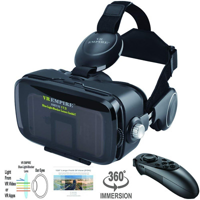 VR Headset 3D Glasses with VR Controller Remote 120° FOV Anti-Blue-Light Lenses