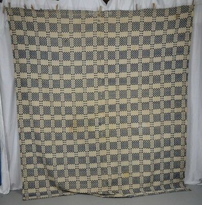 coverlet linen wool blue white 72 x 84 original 1800 early antique