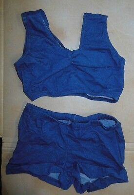NWT Spandex denim medium child dance costume crop top & cuffed booty shorts
