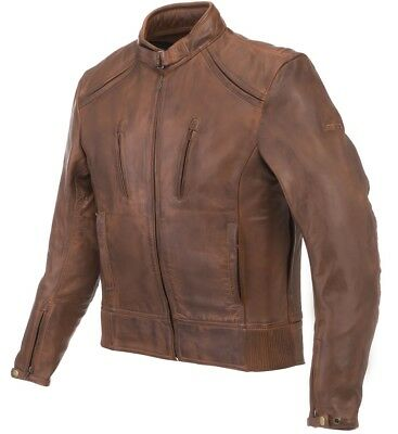 Giacca Jacket Leather Moto Lem Scrambler Vintage Pelle Leather Marrone Brw Tg L