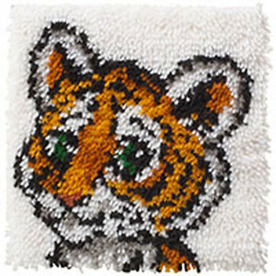 Tiger Cub Latch Hook Kit 30x30cm By Caron Wonderart No tool included