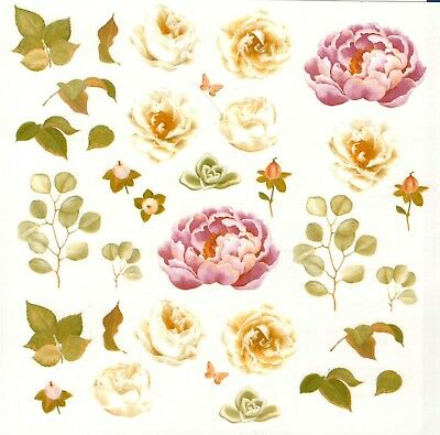 """13483-AAC White Pink Roses Flowers 7-1/4"""" X 7-1/4"""" Sheet Ceramic Decals Dx"""