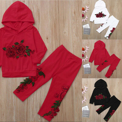 Toddler Baby Unisex Boy Girl Floral Rose Print Hoodie Tops+Pants Outfit Clothes