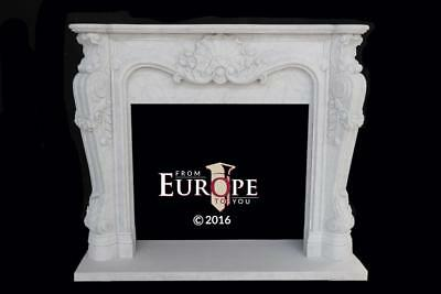 French Style Carrara Hand Carved Marble Estate Fireplace Mantel - Mbf046