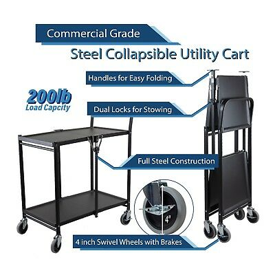 2 Tier Heavy Duty Metal Foldable Commercial Grade Utility Cart with Wheels