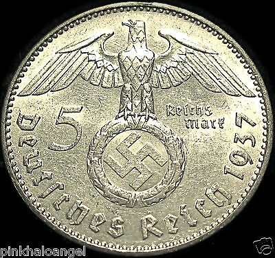 German Third Reich 1937A Silver 5 Reichsmark Coin