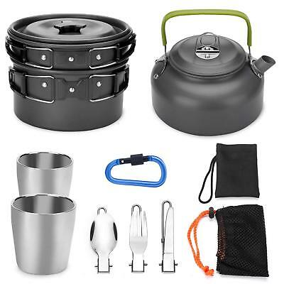 Odoland 10pcs Camping Cookware Mess Kit, Lightweight Pot Pan Kettle with 2 Cups