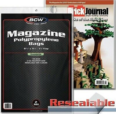 500 BCW Magazine Resealable Bags and Boards Archival Storage 8.5 X 11