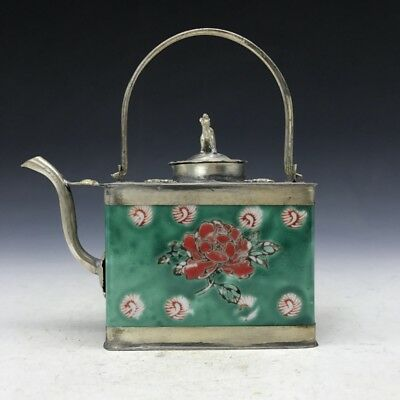 Chinese antique ceramic teapot outsourcing Tibetan silver Painting flower.