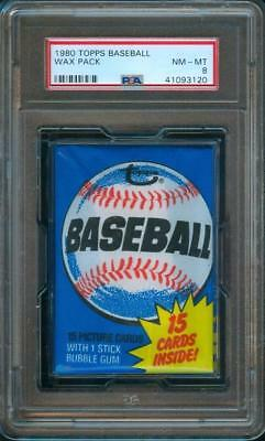 1980 Topps BASEBALL CARD Original Unopened Wax Pack PSA 8 R.Henderson RC!!
