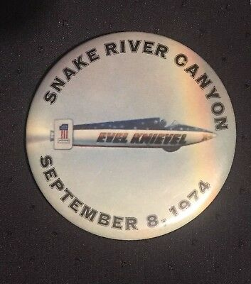 """Vintage 1974 Evel Knievel Snake River Canyon Pin Button -2 1/2"""" Motorcycle Jump"""