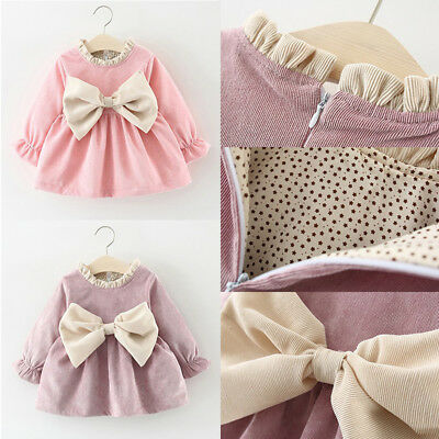 UK Princess Newborn Kids Baby Girl Bowknot Party Pageant Dress Winter Clothes
