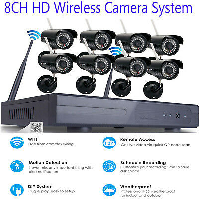 Wireless Security IP Camera System 4/8CH 1080p WIFI NVR Night Vision CCTV System