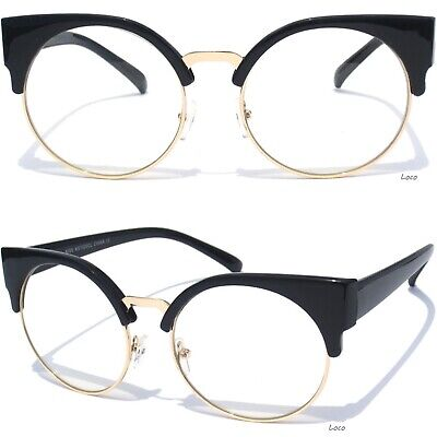 f56737b4d5ec CAT EYE Clear Lens Glasses Classic Retro Soho Vintage Style Half Brow Frame  New