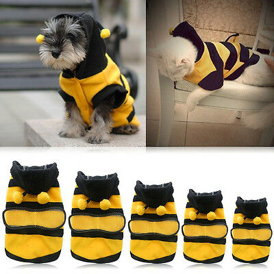 Dog Pet Warmer Outfits Fleece Clothes Puppy Bee Top Clothes Costumes Coat S-4XL