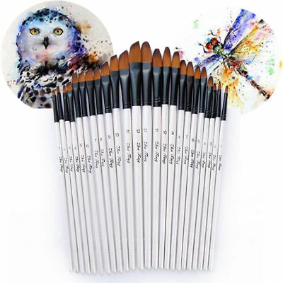 Lots 12Pcs Artist Watercolor Painting Brushes Oil Acrylic Flat&Tip Paint Brush