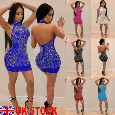 UK Sexy Women Lady Bandage Bodycon Evening Party Cocktail Club Short Mini Dress