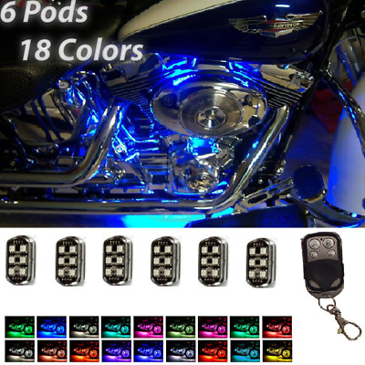 1Set 36LED Motorcycle Pod Light Ground Effect Kit Remote Control For Harley