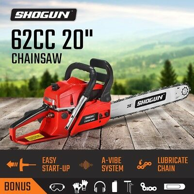 "SHOGUN 62cc Petrol Chainsaw 20"" Tree Pruning Garden Arborist Cutting Chain Saw"