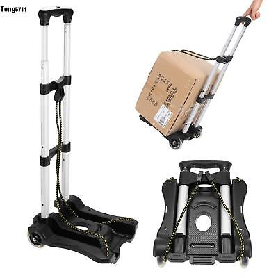 Cart Folding Dolly Hand Truck Push Collapsible Aluminium Trolley Luggage 2 Ropes