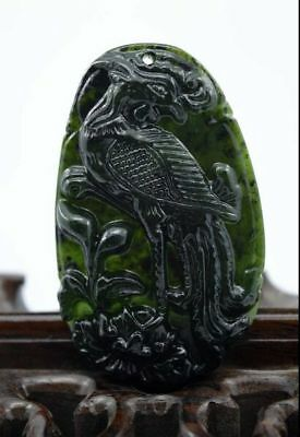 Fine  China's natural jade nephrite carving black jade pendant Rooster 金鸡独立
