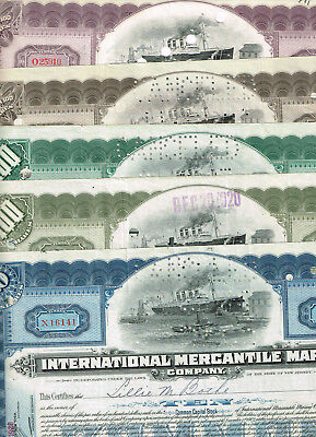 Maritim-Set 5 Int. Mercantile Marine Co., 1920er, 5 Farben, VF