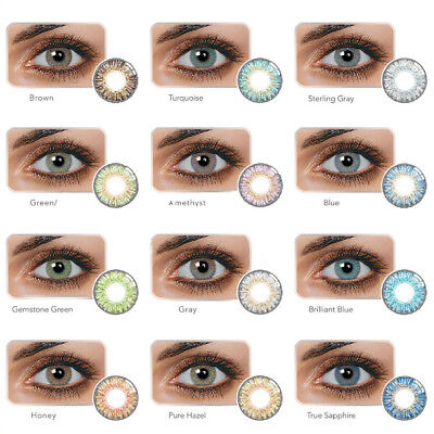 1 Pair Colored Cosmetic Contact Lenses 0 Degree Yearly Use Makeup Eyewear Bello