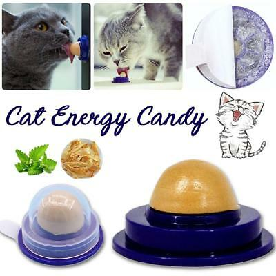 Cat Snack Catnip Sugar Candy Licking Solid Nutrition Energy Ball Toy Healthy NR
