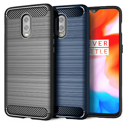 OnePlus 6T Carbon Fibre Best TPU Silicone Gel Case Protection Phone Cover UK
