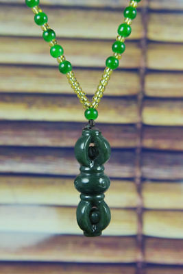 Fine Natural Green Hand-carved Chinese Hetian Jade nephrite Pendant +Free Neckla