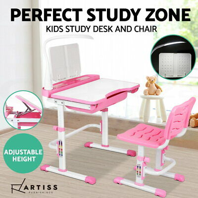 Artiss Kids Table and Chair Set Study Desk Lamp Children Writing Adjustable Pink