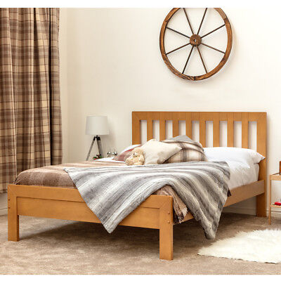 Modern Shaker Style Solid Wooden Bed Frame Single Double Size Oak Finish