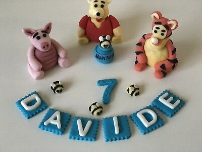 Unofficial Winnie The Pooh Piglet Tigger Handmade Edible Birthday Cake Topper