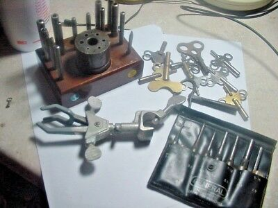 Clock Tools 4 Tools Including Antique Clock Keys,Pin Punches,Much More