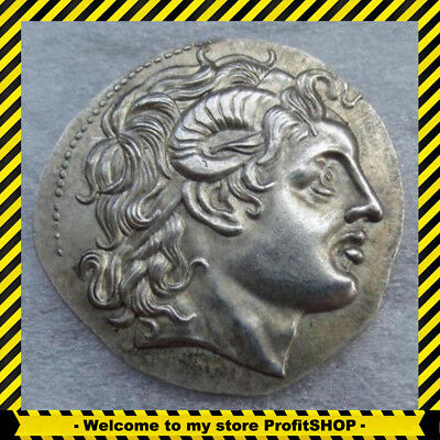 Rare Ancient Alexander III THE GREAT GREEK COIN 336 BC Silver Plated Drachm King