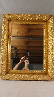 Antique 19C Ornate Gilt Wood Gesso Picture Frame Mirror