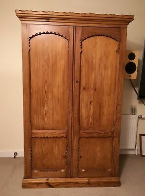 Antique pine wood double wardrobe with ornate detail, perfect condition