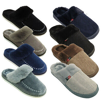 Mens Slippers Slip On Clog Mules Fleece Lined Cord Winter Hard Sole Shoes Sizes