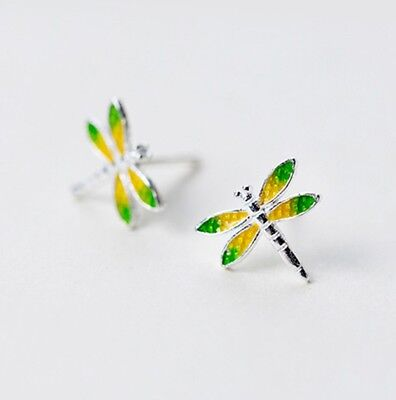 Mini 925 Sterling Silver Dragonfly Insect Studs Earrings Green Yellow Enamel