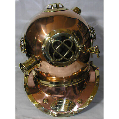 Taucherhelm XL Mark V Navy Diving Helmet 1897 Kupfer Messing Retro Original-Gr.
