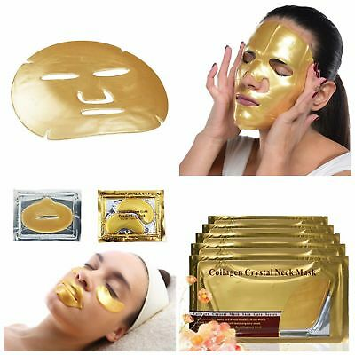 24k Gold Collagen Mask Face Sheets Peel Bio Crystal Anti Wrinkle Aging Facial Health & Beauty