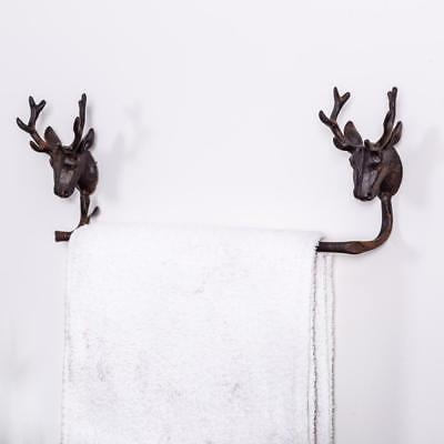 Antique Brown Stag Towel Rail Metal Shabby Vintage Chic Country Style Bathroom