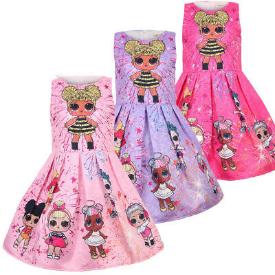 Baby Kids Girls Pleated Cartoon LOL Surprise Doll Printed Party Princess Dress