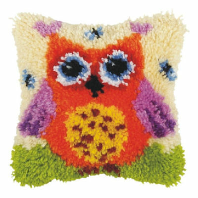 Orange Owl (Small) Latch Hook Cushion Front Kit. Orchidea 25x25cm Printed canvas