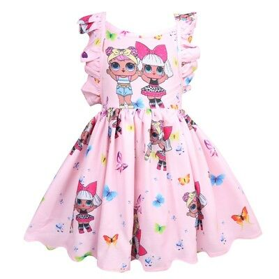 UK Kids Girls Sleeveless Backless Ruffles LOL Surprise Doll Party Princess Dress