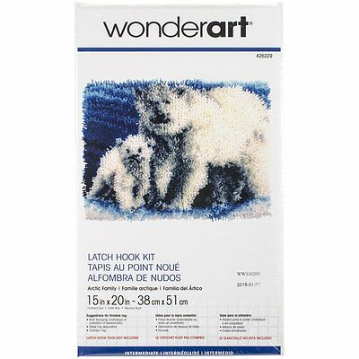 "Arctic Family Polar Bears Latch Hook Kit 15x20""  Completed Size. From Caron"