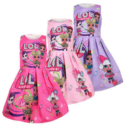 Baby Kids Girls Sleeveless LOL Surprise Doll Printed Party Princess A-Line Dress