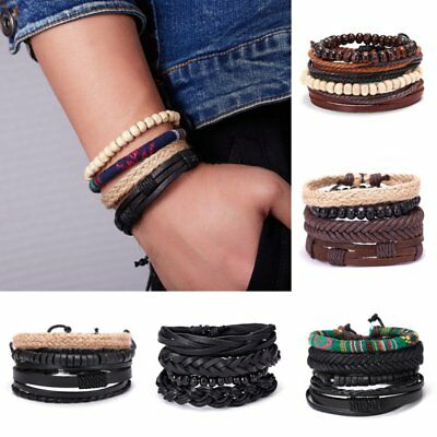 4Pcs Men Women Handmade Genuine Leather Bracelet Braided Bangle Wristband Set