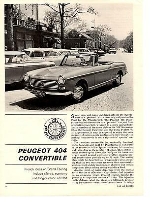 1965 Peugeot 404 Convertible  ~  Rare 3-Page Road Test / Article / Ad