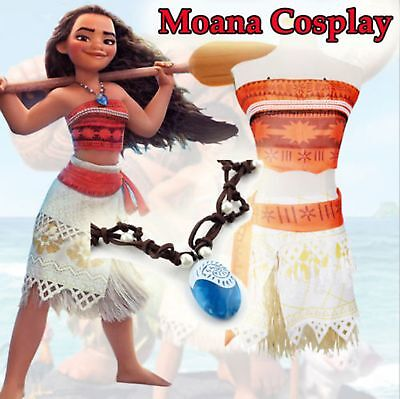 2018 Women Girl Animie Movie Princess Moana Cosplay Costume Dress Necklace Set
